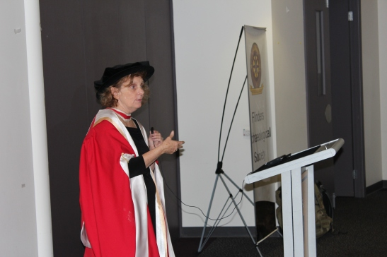 Head of the Archaeology Department, Professor Claire Smith congratulates the new graduates while saying 'there is no doubt we are the best archaeology department for teaching in the country. It's because we treat our students as professionals from an early stage'. Photograph: Jordan Ralph, April 2013.