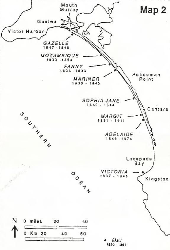 Figure 1. Map showing approximate shipwreck locations along Younghusband Peninsula, South Australia.