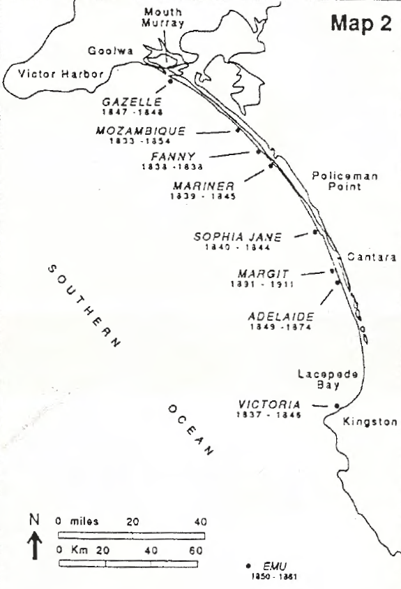 Figure 1. Map showing approximate shipwreck locations along Younghusband Peninsula, South Australia.